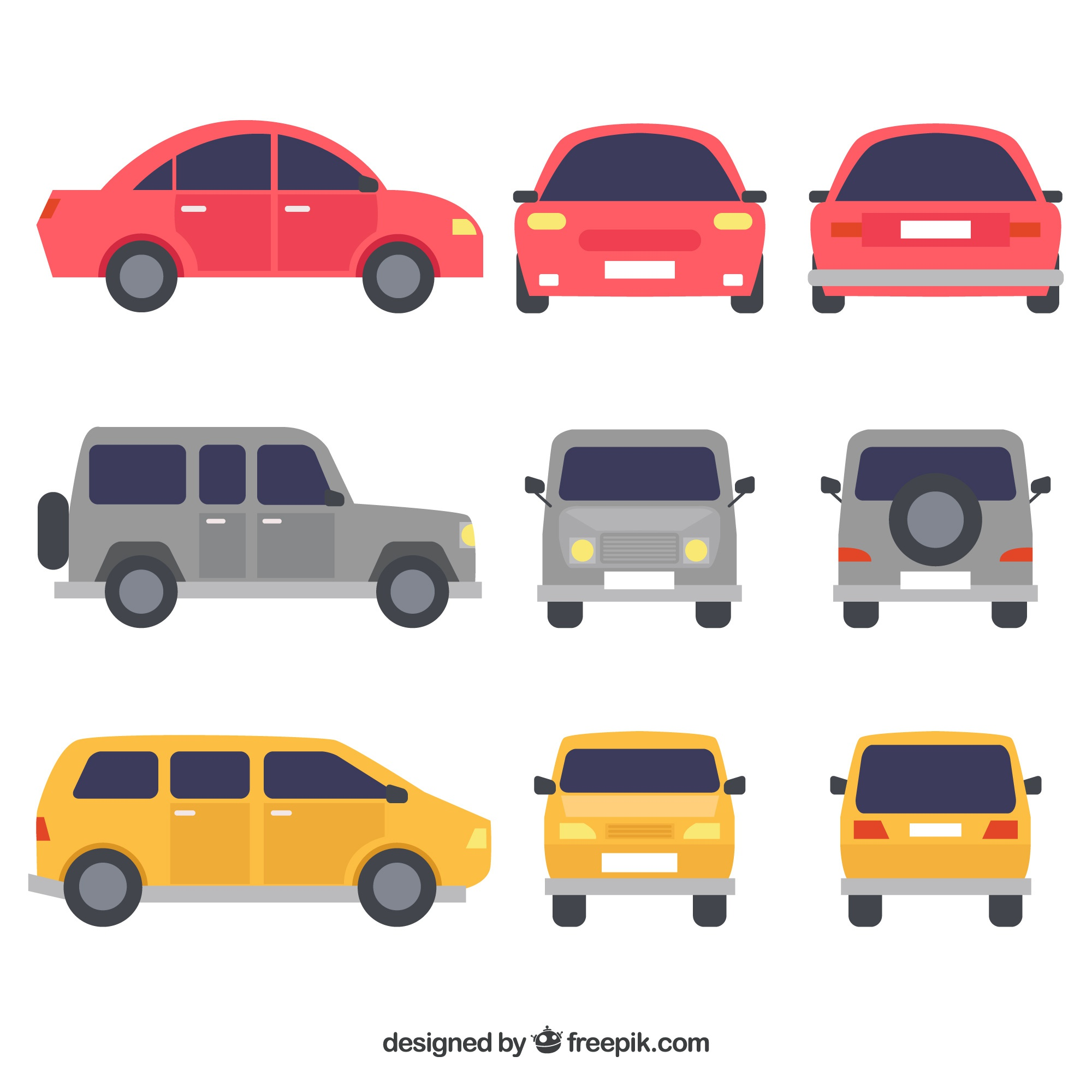Colorful variety of flat cars