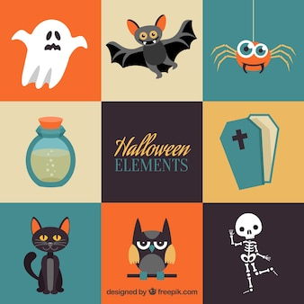 Colorful variety of flat halloween elements