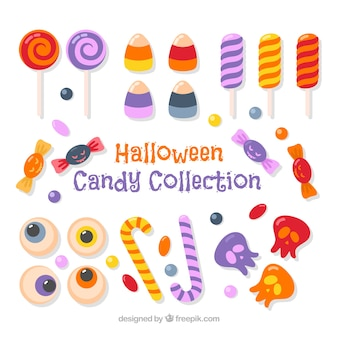 Colorful variety of halloween candies