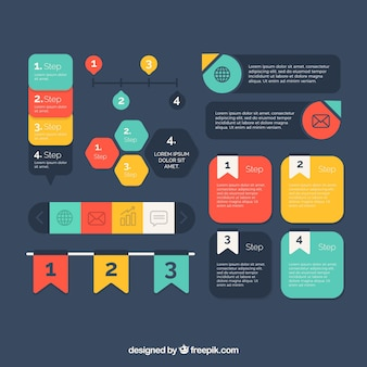 Colorful variety of infographic elements