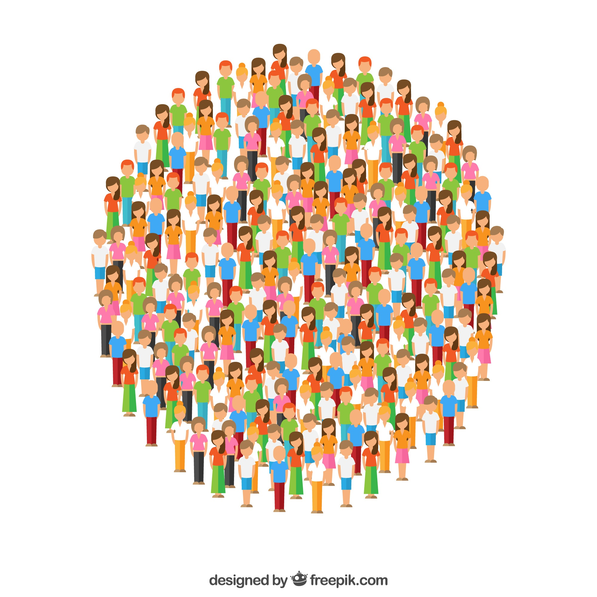 Colorful variety of people forming a circle