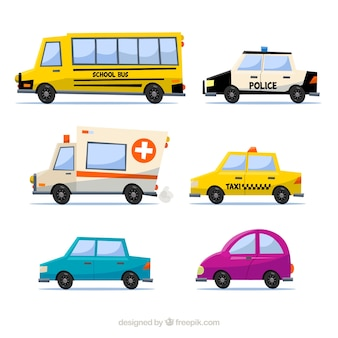 Colorful variety of professional cars