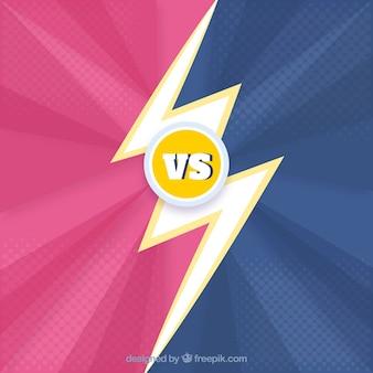 Colorful versus background with flat lightning bolt