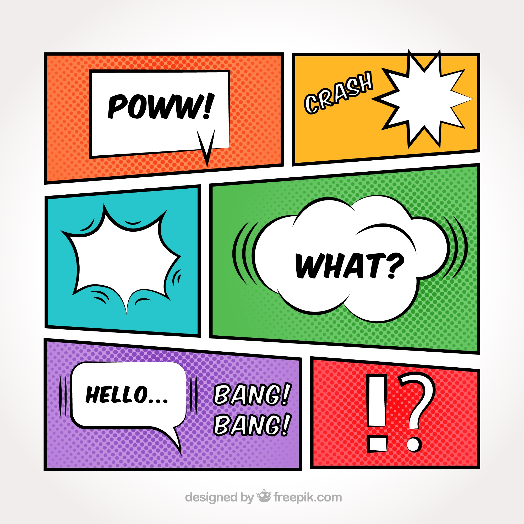 Colorful vignettes set with speech balloons