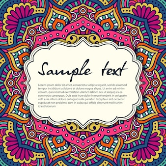 Colorful vintage mandala design with text frame