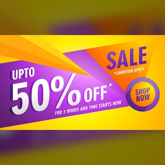 Colorful voucher with geometric shapes