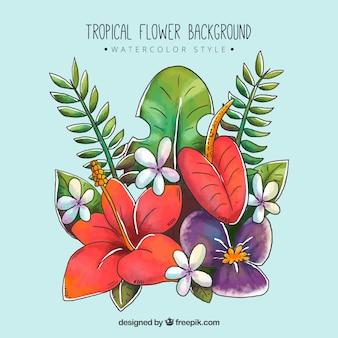 カラフルな水色のスタイルの熱帯の花の背景