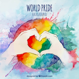 Colorful watercolor background with heart shaped hands