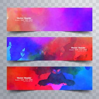 Colorful watercolor banner set