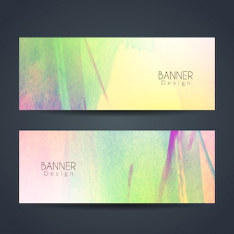 Colorful watercolor banners