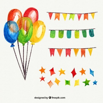 Colorful watercolor birthday party elements