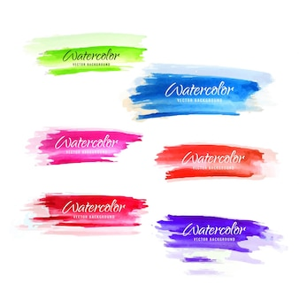 Colorful watercolor brush set