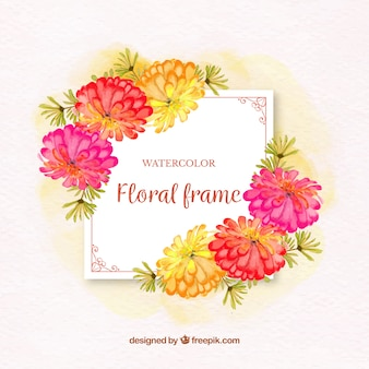 Colorful watercolor floral frame with elegant style