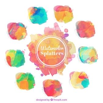 Colorful watercolor splatters
