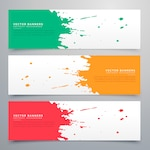 Colorful watercolor stain banners