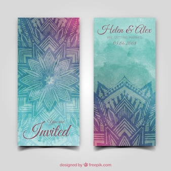 Colorful watercolor wedding invitation with mandala