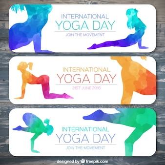 Colorful watercolor yoga silhouettes banners