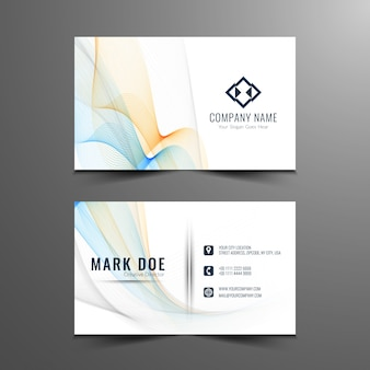 Colorful wavy business card template