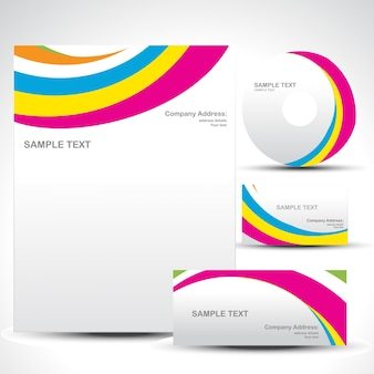 Colorful wavy business template set