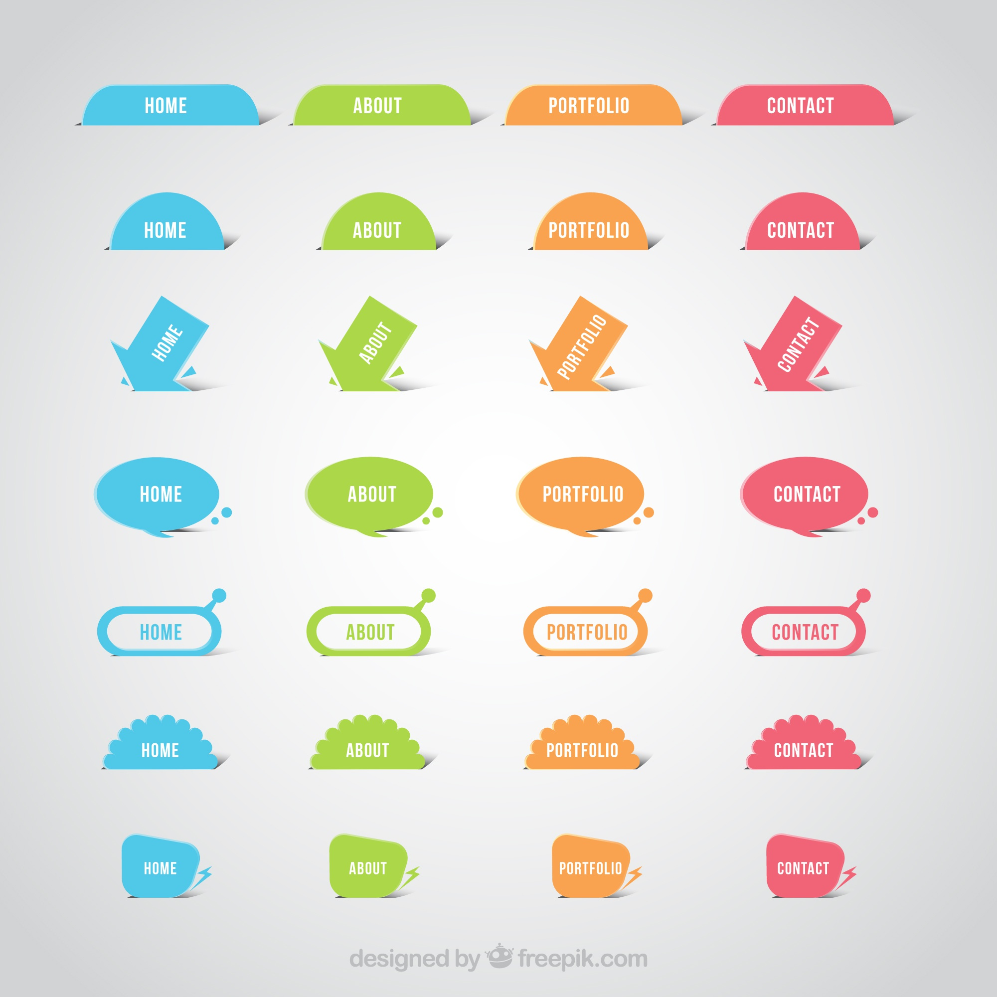 Colorful website buttons