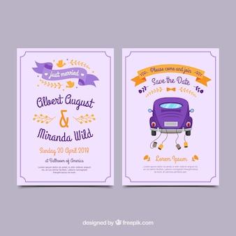 クラシックカーでカラフルな結婚式の招待状