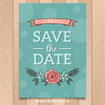Colorful wedding invitation with floral style
