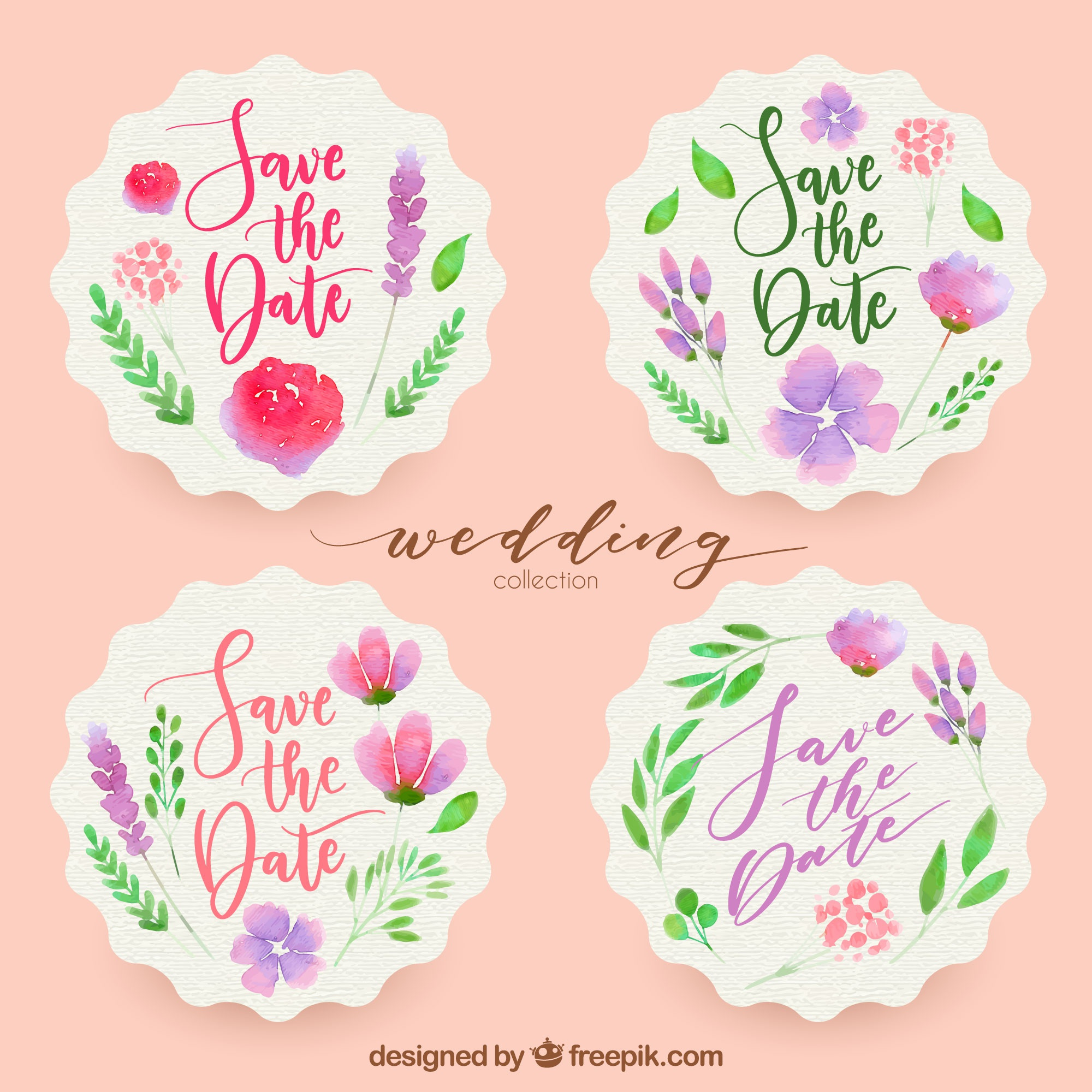 Colorful wedding labels