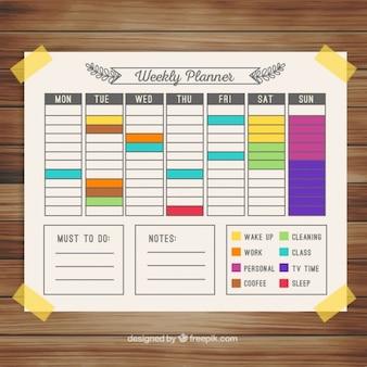 Colorful weekly calendar planner