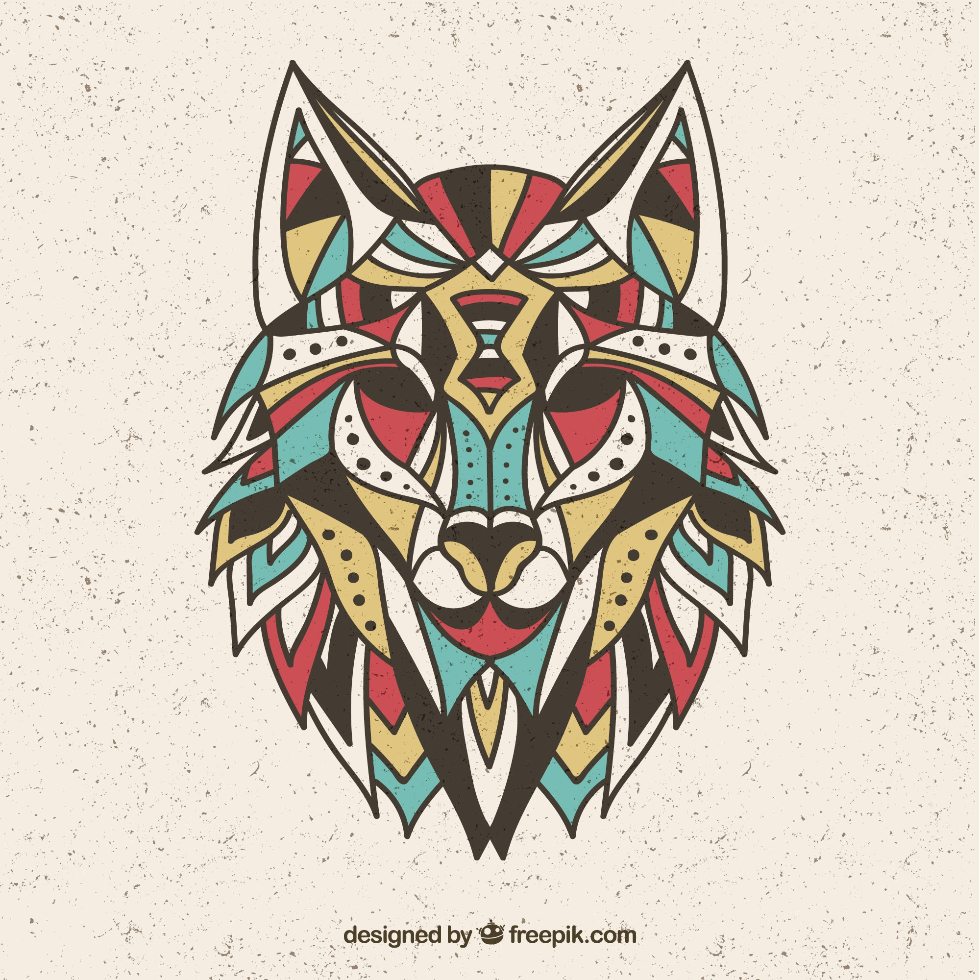 Colorful wolf design