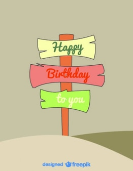 Colorful wood signals with a happy birthday message