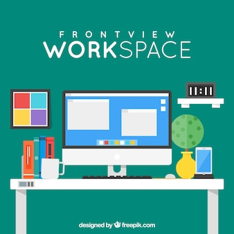 Colorful workspace with frontal view