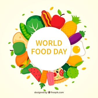 Colorful world food day background