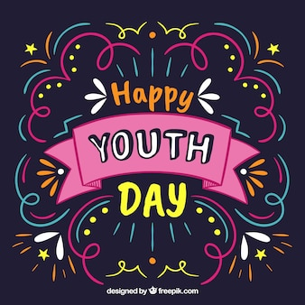 Colorful youth day lettering background