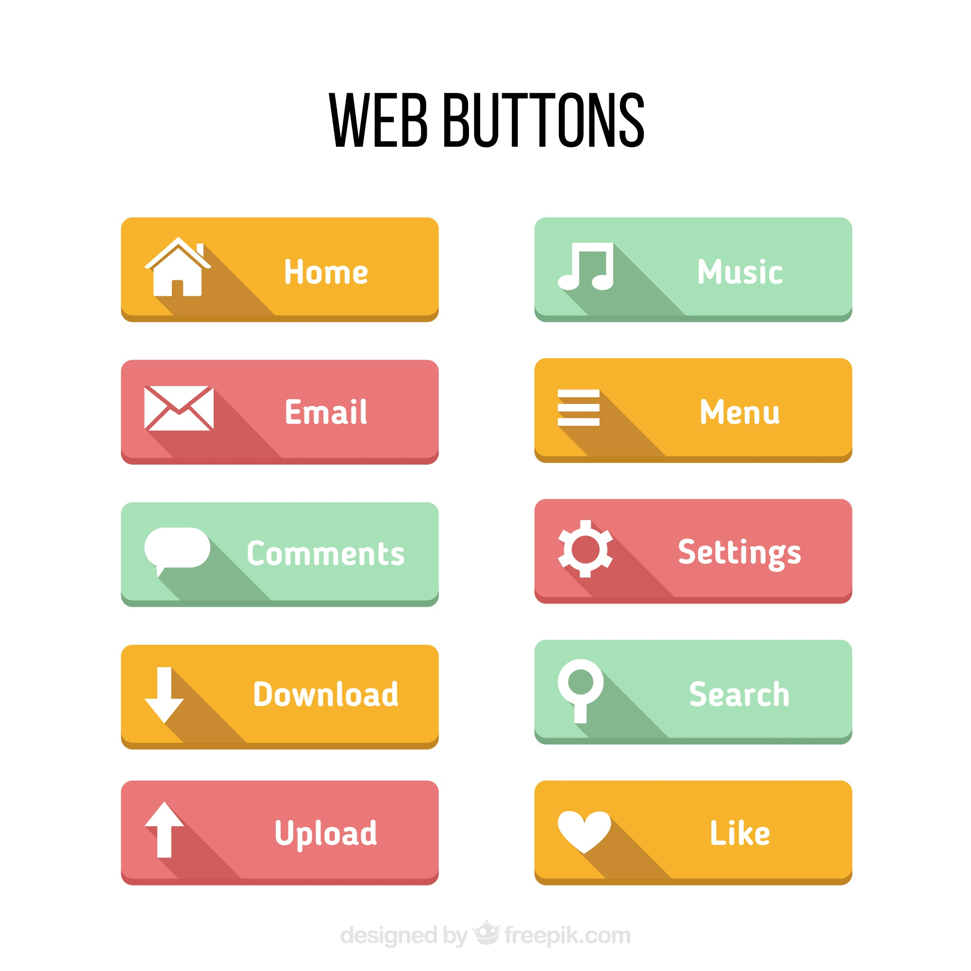 Colors buttons for web in a flat design