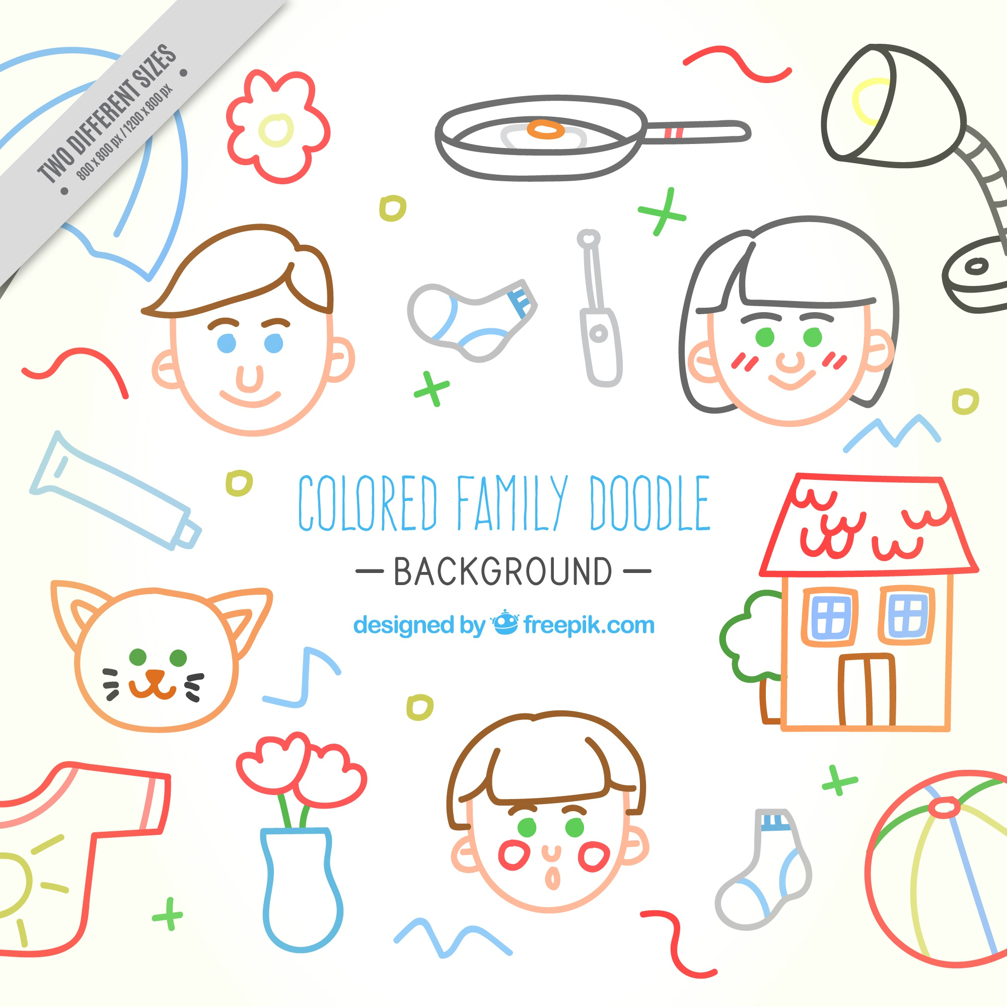 Colors sketches of family and elements background