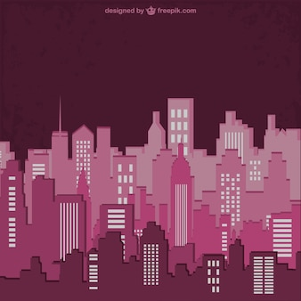 Colour buildings silhouette vector