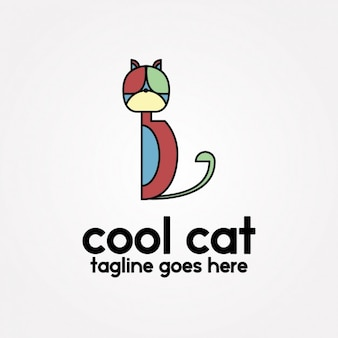 Coloured abstract cat design