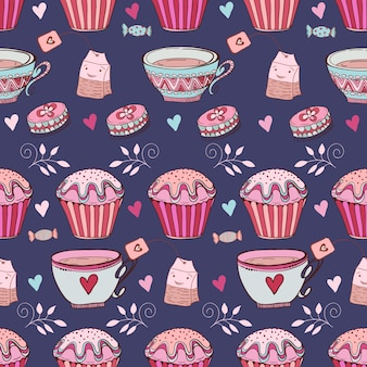 Coloured afternoon tea pattern