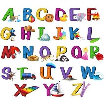Coloured alphabet design