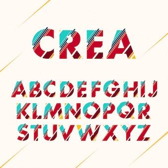 色付きアルファベットのデザイン