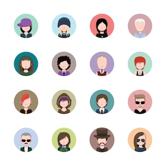 Coloured avatars collection