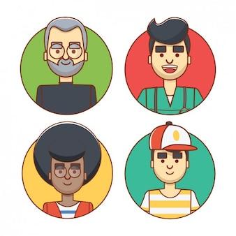 Coloured avatars of men