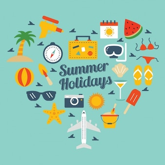 Coloured background with summer elements