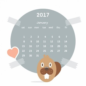 Coloured calendar with a beaver