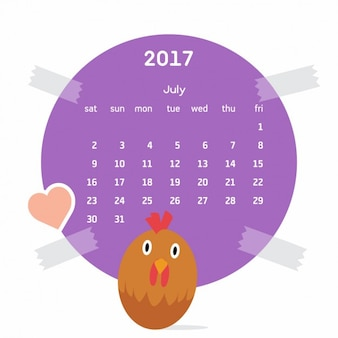 Coloured calendar with a cock