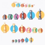 Coloured chess pieces collection