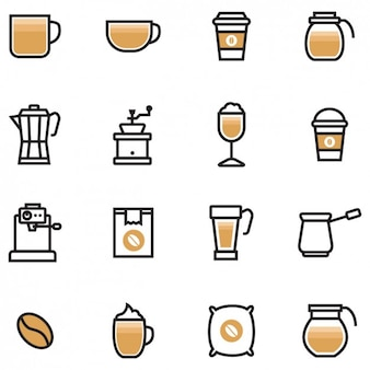 Coloured coffee icons