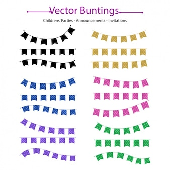 Coloured decorative buntings collection