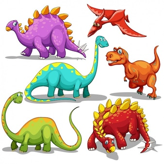 Coloured dinosaurs collection