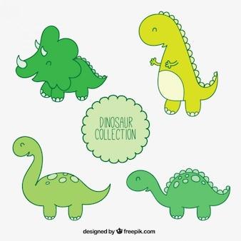 Coloured dinosaurs illustrations
